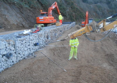 Carbis Bay hotel Platipus B4 bat anchors securing gabions into slope