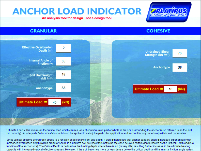 A screen shot of the bespoke Platipus anchor load indicator design analysis tool