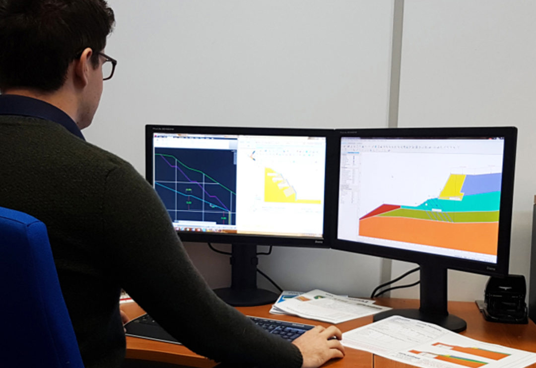 Platipus Geotechnical Engineer working on slope drawings
