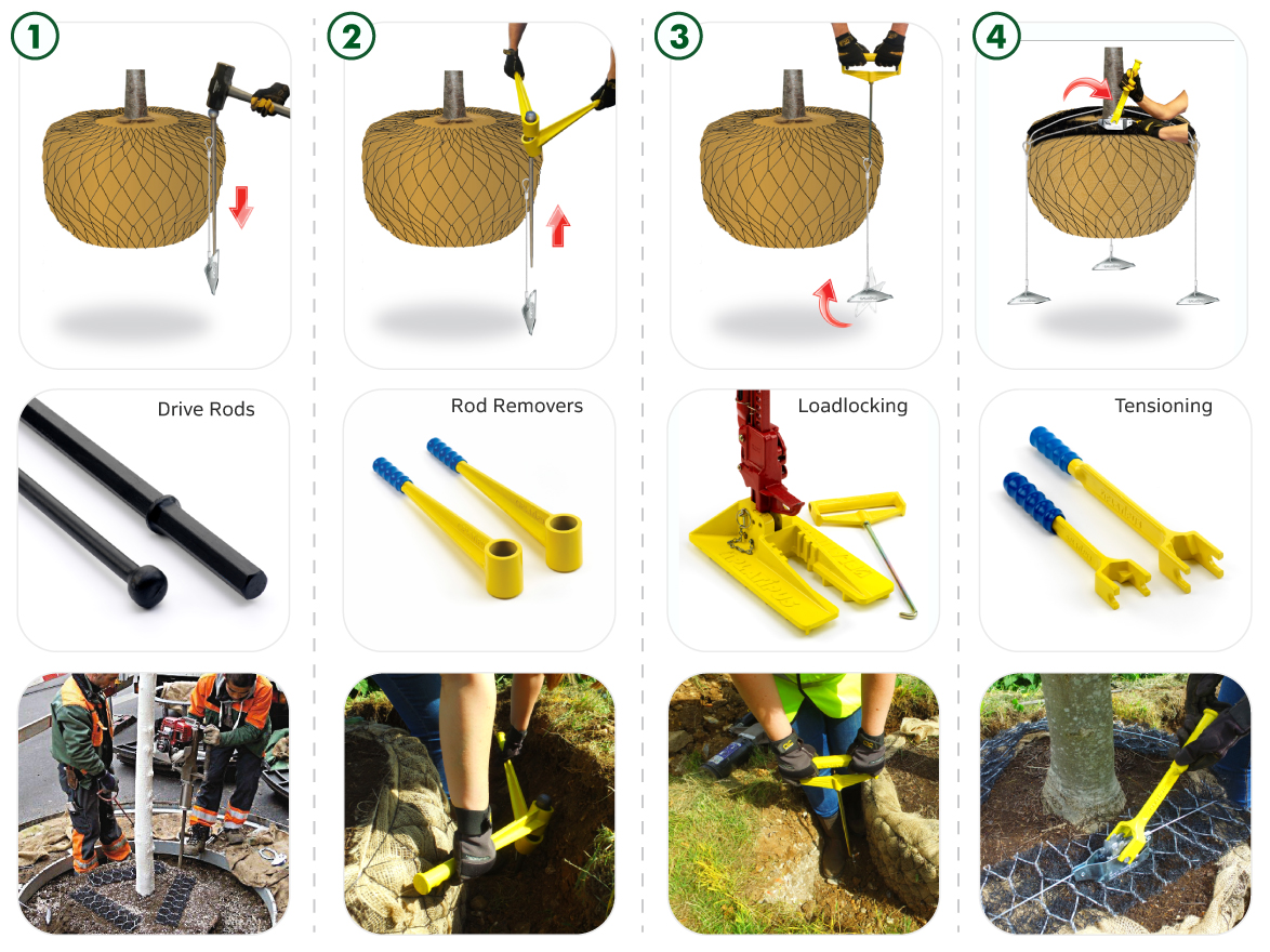 The installation process & tools available to install a Platipus tree anchoring system